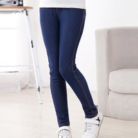 Spring Summer Fashion Girls Pencil knit Imitation denim fabric Jeans Kids Candy Color Mid Waist Full Length pants