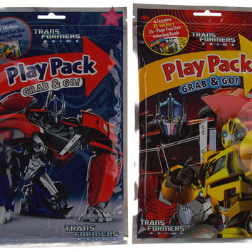 Lot 8 Transformers Prime Play Pack Grab & Go Coloring Book Crayons Stickers Gift