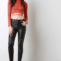 Vegan Leather Zipper Knees Pants