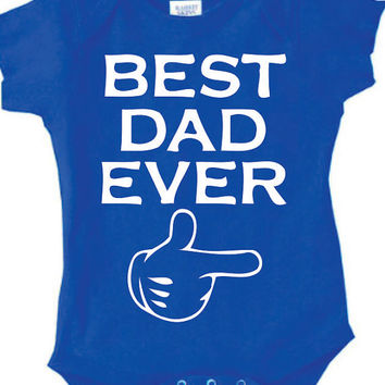Best Dad  Ever Father s Day Onesuit, super cute one sie for you baby , mickey mouse pointing the father , perfect fathers day gift