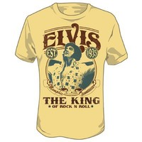Elvis Presley - Mens The King T-Shirt In Light Yellow