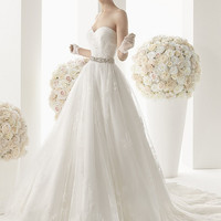 111 Magno Strapless Sweetheart Wedding Dress with Silver Beadwork Belt