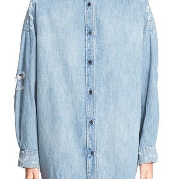 IRO 'Emira' Distressed Oversize Denim Shirt | Nordstrom