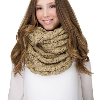 CAMEL CABLE KNIT infinity knit scarf, cable knit infinity scarf, tan camel cable knit, knitted scarf
