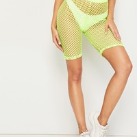 Neon Lime Fishnet Mesh Cycling Shorts Without Panty