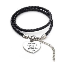 "Vegan Leather ""Where there is love there is life"" - Hand Stamped Bracelet"