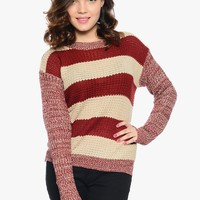 Wine Very Cozy Striped Sweater | $10.00 | Cheap Trendy Sweaters Chic Discount Fashion for Women | M
