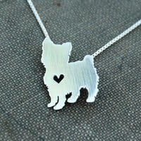 Cute Tiny Yorkie Silver Womens Necklace and Pendant