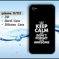 Keep Calm and Awesome iphone 4 Case iphone 4s Fun Funny iphone4 4s Casing Hard Case Silicone 3D