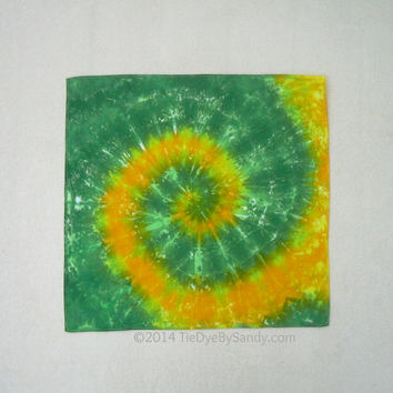 Green and Yellow Gold Tie Dye Bandana