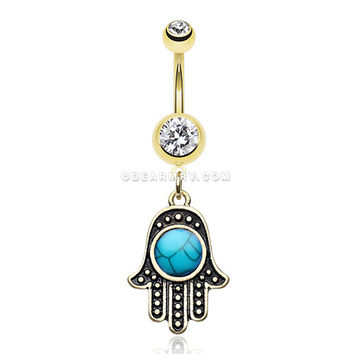 Golden Vintage Turquoise Hamsa Belly Button Ring (Clear)