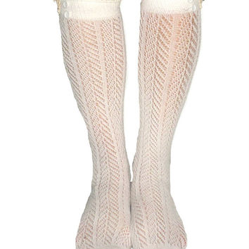 Women's Ivory Chevron Pattern Button Lace Boot Socks, Crochet Lace Button Boot Socks, gift