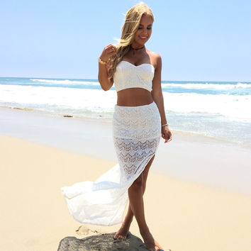 Classy Lace Maxi Skirt In Ivory