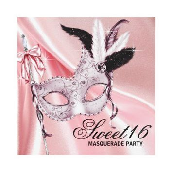 Pink Black Sweet 16 Masquerade Party Custom Invitations from Zazzle.com