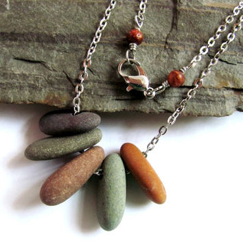 Beach Stone Necklace, River Rock, Eco Friendly, Natural Jewelry by Hendywood