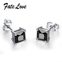 Classic Women Earrings 18K White Gold Plated  AAA+ CZ Diamond Stud Earrings Black and White Crystal Wedding Earrings FL015