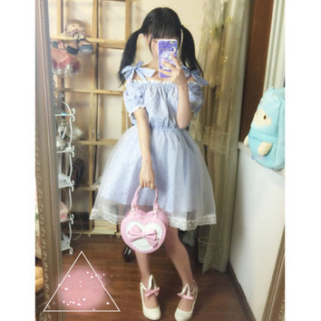 2016 Japanese Lolita Sweet Slash neck Shoulder Bow Tie Dream dress Blue stirped Flowers short sleeve Gauze Women Summer Dress
