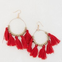 Steal The Show Tassel Earrings - Red
