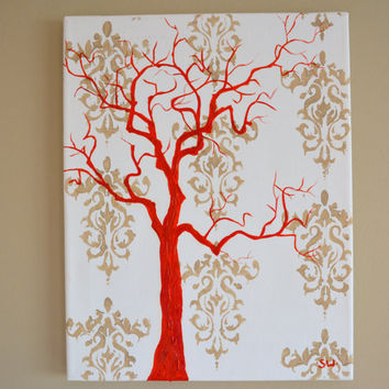 Red Tree Silhouette with Damask print Original Painting