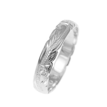 14K WHITE GOLD CUSTOM HAND ENGRAVED HAWAIIAN PRINCESS PLUMERIA SCROLL CUT OUT EDGE BAND RING 4MM