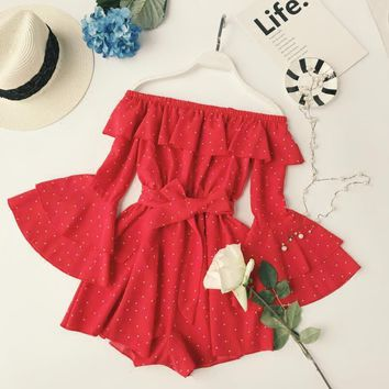 Polka Dot Off the Shoulder Romper 4 Colors