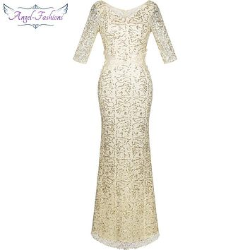 Angel-fashions Half Sleeves Sequined Mermaid Long Evening Dress Abendkleid  Ivory 214