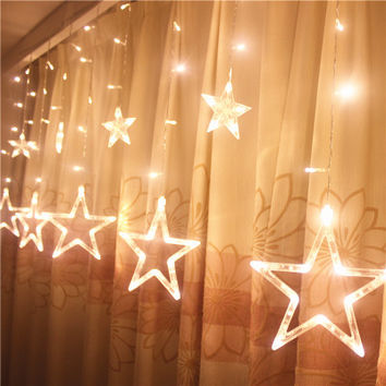 220V Curtain Star string lights christmas new year decoration christmas led lights christmas decorations Pink/Purple/Red/RGB