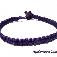 Dark Purple Bracelet, Square Knot Macrame Hemp Jewelry, Made to Order