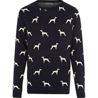 River Island MensNavy dog print sweater