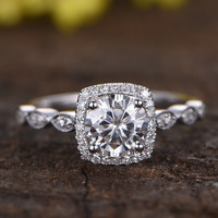 1 Carat Round Moissanite Halo Engagement Ring Diamond 14k White Gold Art Deco Antique Milgrain Stacking Band