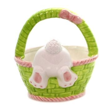Tabletop BUNNY BASKET CANDY DISH Ceramic Easter Rabbit 9732628 Tail