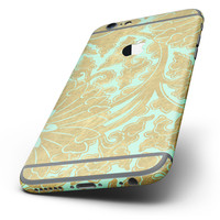 The Mint and Gold Floral v4 Six-Piece Skin Kit for the iPhone 6/6s or 6/6s Plus