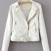 White Leather Biker Jacket with Detachable Sleeves