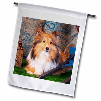 "3dRose fl_208052_2 ""Shetland Sheepdog Lying By A Wooden Wagon, Mr, "" Garden Flag, 18 x 27"""
