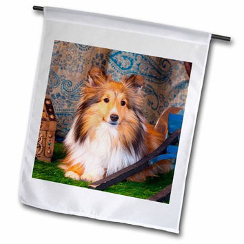 3dRose fl_208052_1 Shetland Sheepdog Lying by a Wooden Wagon, Mr Garden Flag, 12 by 18""