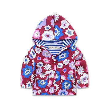 Fashion girl's Outerwear Coats blazer cotton flower baby jackets Trench Spring Girls Hood Jackets Baby raincoat