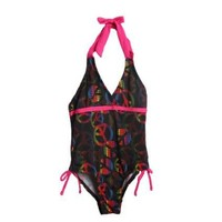 "Pink Platinum Girls (4-6x) 1pc black/hot pink halter top swimsuit - ""peace"" $10.00"