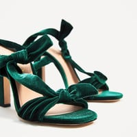 VELVET LACE-UP HIGH HEEL SANDALS DETAILS