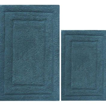 Foldable and Absorbent  2 Piece Cotton Bath Rug Set, Mid Blue