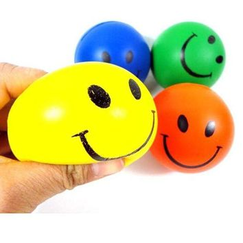 DCCKU7Q 4PC Random Child Toy Mini Neon Lovely Smile Face Relaxable Outdoor Hand Wrist Exercise Stress Relief Soft Toy Balls Hot Sale