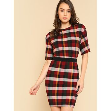 Plaid Box Tee & Skirt Co-Ord