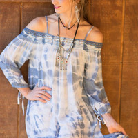 Tie Dye Off Shoulder Dress - Vintage Blue