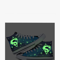 Glow In The Dark Galaxy Canvas Sneakers In Blue