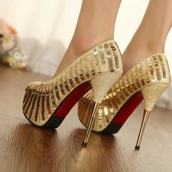 "Gold Glitz - 14"" High Heel"