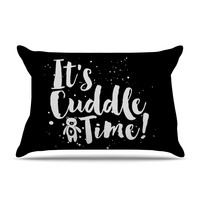 "Nick Atkinson ""Cuddle Time"" Black White Pillow Sham"