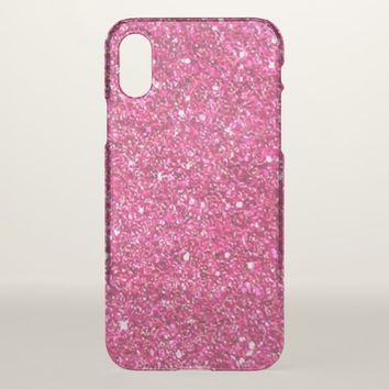 Pink (Faux) Glitter Apple iPhone X Clear Case