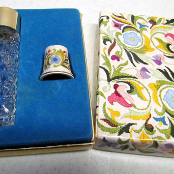 Vintage Avon Set Ariane Ultra Cologne Bottle and Porcelain Thimble with box