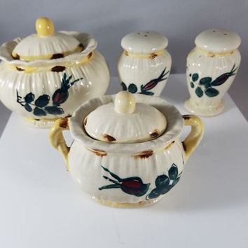 Two Covered Sugar Bowls and Matching Salt & Pepper Shakers  (969)