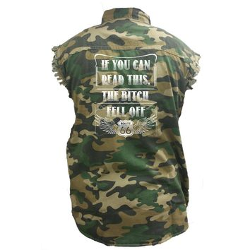 Men's Camo Sleeveless Denim Shirt If You Can Read This, The B Fell Off Denim Vest