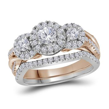 14kt Two-tone Gold Womens Round Diamond Bridal Wedding Engagement Ring Band Set 1.00 Cttw